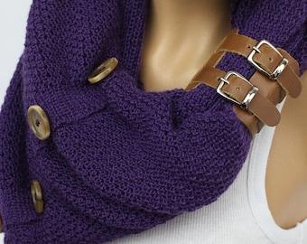 Purple Scarf,Knit Infinity Scarf, Womens Knit Winter Scarves, Womens Knit Infinity Scarf, Knit Scarves, Knit Infinity Scarves