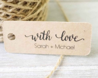 30x Personalised Mini Tags ~ Wedding Favour Tag ~ With Love ~ Customised Thank You Tags ~ Kraft Gift Tag ~ Engagement Party Favor