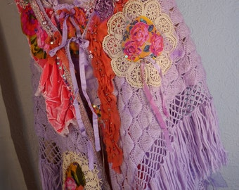 "Large Shawl wrap ""Eva"" lilac, very romantic, Art to wear, Unique"