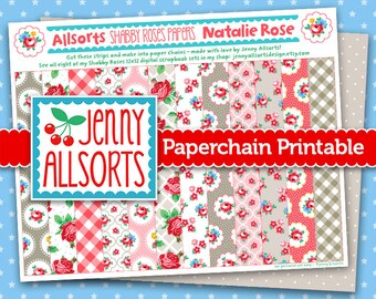 Natalie Rose Shabby Roses Printable Paper Chain, Party Supplies, Decoration