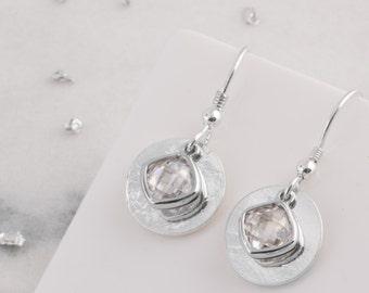 Silver memorial birthstone earrings