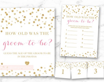 How old was the groom-to-be sign and game card, glitter confetti sign, pink and gold sign, guess the groom age, 008