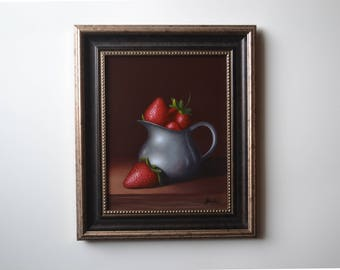 8x10' red strawberry painting, small still life painting, fruit painting, tiny kitchen artwork, berry miniature, strawberries, silver cup