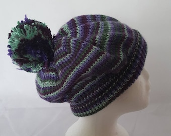 Ladies hand knitted wool bobble style hat