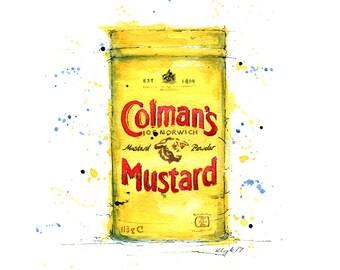 Colmans  Mustard, Vintage Tin, Vintage Mustard, Mustard - Giclee print from original watercolour