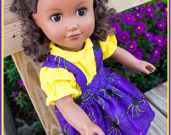 Purple & Black Spider Jumper fits like American Girl Doll Clothes, or nearly any other 18 inch Doll's Clothes with Spiders' Webs and Spiders