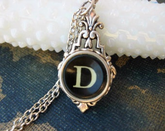 Typewriter Key Jewelry - Typewriter Necklace - Initial D - Typewriter Charm - Vintage Key