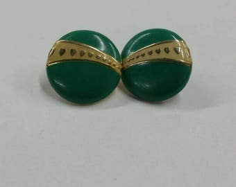 Teal heart stud earrings