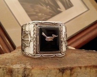 Vintage Native American Hallmarked Black Onyx and Sterling Silver Roadrunner and Scales of Justice Designed Cuff Bracelet