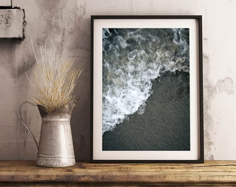 Ocean Texture Print | Nature Photography Ocean Art Wall Decor Waves Sand Abstract Curve