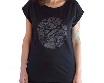Womens Graphic Tee - Minimalistic t shirt - Tree Shirt - Streetstyle tee - Screen Printed - Rolled Sleeve tshirt - Fair Wear