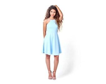 Summer Dress, Short Dress, Prom Dress, Light Blue Bridesmaid Dress, Mini Dress, Halter Dress, Open Back Dress, High Neck Dress, Party Dress