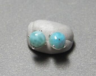 6mm Larimar Gemstone Post Earrings set in Sterling Silver