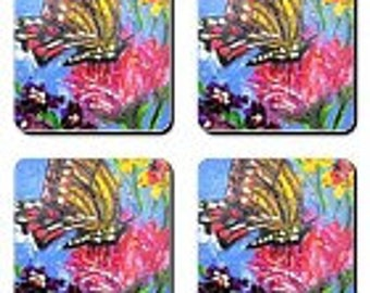 Item # 15 Butterfly Blue Coasters (3.5 x3.5)