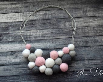 Design Necklace Felt Necklace  Ball Pink and Gray Necklace Wool Jewelry Pink and gray