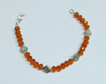 Deep Orange Crystal Glass Bead & Tibetan Silver Bracelet  // Jewelry Under 20.00