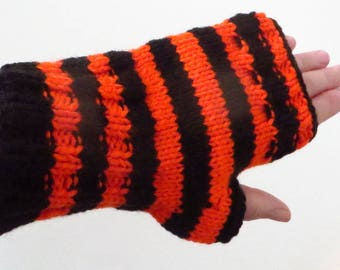 Orange and Black Texting Mittens, Striped Fingerless Gloves, Hand Knit Acrylic