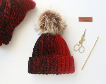 Ribbed Hat | Black & Cherry Red