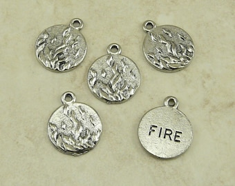 5 Fire Flame Element Charms > Fire Bender Team - Raw American Made Lead Free Silver Pewter - I ship internationally