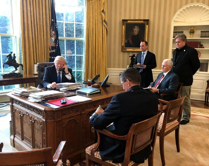 President Donald Trump on Phone with Russian President Vladimir Putin in the Oval Office - 5X7, 8X10 or 11X14 Photo (ZY-734)