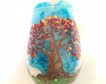 Happy Tree hand painted stemless wine glass - Autumn Tree with Falling Leaves