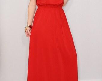 Maxi dress Bridesmaid dress Red Chiffon dress Bohemian clothing Evening dress Prom dress long Red dress Keyhole Casual Summer dress