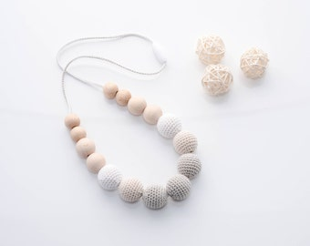 Ready to ship - Nursing necklace for mom - Gray and Neutral color Teething necklace with crochet wooden beads