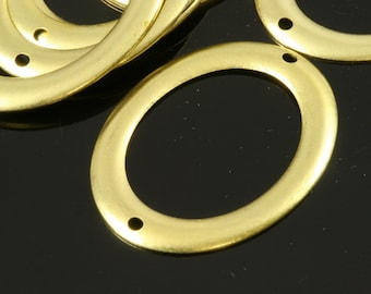 20 pcs Raw Brass 27x37 mm Oval 2 hole connector Charms ,Findings 597R-30