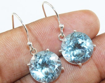 Natural Gemstone Blue Topaz  925 Solid Sterling Silver Handmade Round Earring