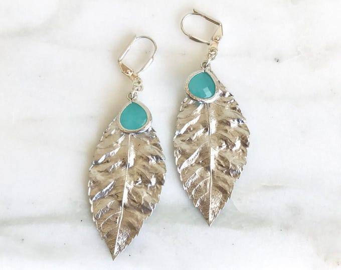 SALE Silver Leaf Dangle Earrings with Turquoise Drops. Drop Earrings. Bridesmaid Earrings. Leaf Earrings. Drop. Jewelry Gift for Her.  Gift.