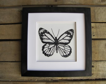 Black and White Butterfly, Picture made of Dots, Pointillism, 8x8 Art Print