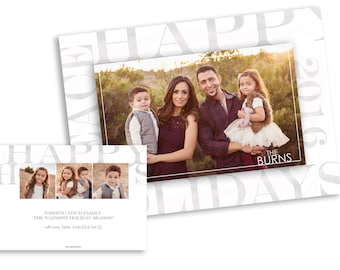 Holiday Card Template- Christmas Card Template- Template for Photographers - Holiday photo card