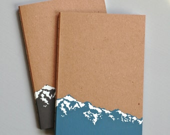 Large Mountain Notebook - Blank Diary for Bullet Journal - Kraft Cover Nature Note Book