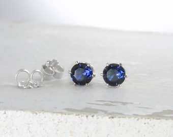 Silver Stud Earrings Sapphire Earrings September Birthstone Jewelry Birthstone Stud Earrings Sapphire Stud Earrings Blue Sapphire Earrings