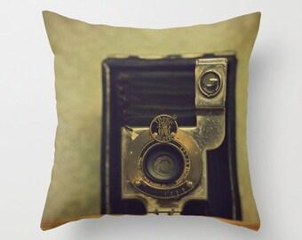 Throw Pillow - Home Decor, Photography, Photo pillow, gift, Vintage Camera, Smile, Eastman Kodak Co