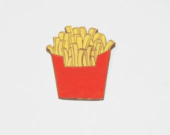 """Wooden brooch """"Fries"""" _ original brooch - wooden jewelry perfect for parties"""