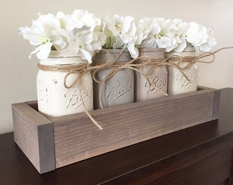 Mason jar planter box, rustic decor, farmhouse decor, mason jar centerpiece, mason jar decor