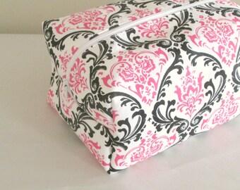 Cosmetic Bag - Pink and Black Damask Makeup Bag - Large Makeup Bag - Waterproof Makeup Bag
