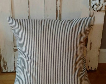 Ticking Pillow Cover -Farmhouse Pillow Cover- Blue Ticking Pillow - Vintage Pillow Cover -French Pillow- Farmhouse Decor-CottonBlossomStudio