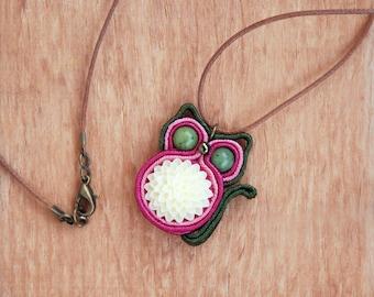 Jade Cat Pendant Necklace, Canadian jadeite gemstone miniature animal totem, Green gem stone, Vanilla flower, Pink soutache fiber embroidery