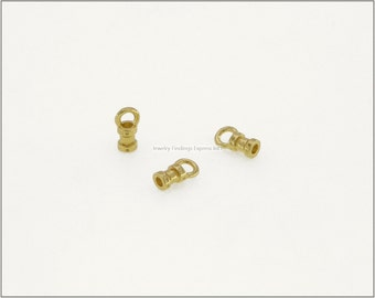 10 pc.+  1.5mm Crimp End Cap, Crimp Ends, Cord Ends for Leather Cords & Chains - Gold color