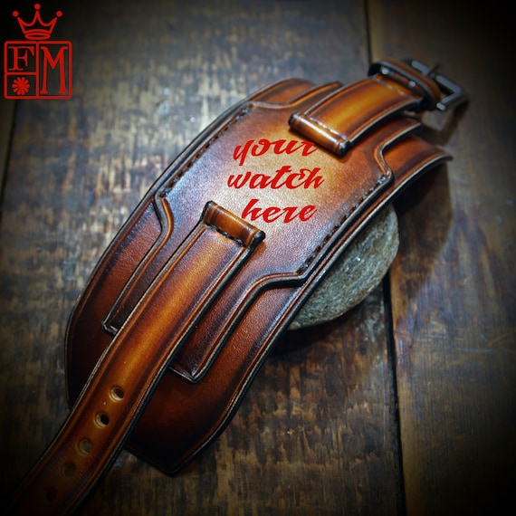 Leather cuff watchband- 18mm 20mm 22mm 24mm Vintage layered sunburst style wristband Custom Made for YOU in New York by Freddie Matara!