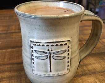Beautifully Handcrafted Pottery Mug with Square Dragonfly