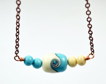Lampwork Ivory Turquoise Swirl Bead Necklace Copper Chain