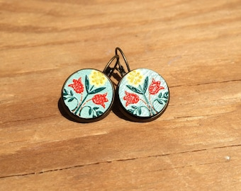 Polish Flowers: Wood French Lever Earrings
