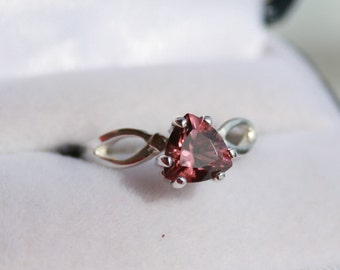 Pink Zircon Ring Trillion Cut Solitaire Sterling Silver Split Shank