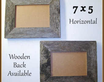 5 x 7 Barnwood Frames Set of Two. Authentic Old Barn Wood, Recycled, RePurposed, Reclaimed, Vintage Farmhouse, Rustic, Primitive, Distressed