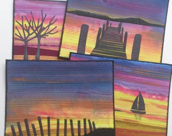 Sunset Skies Landscape Quilt Pattern with optional background fabric.