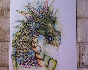Dragon art print, Dragon painting, Watercolor Dragon, Dragon art, Dragon print, Fantasy art, dragon gift, dragon lovers