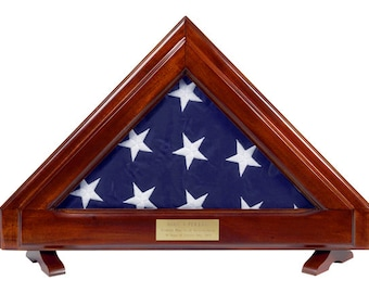 Flag Display Case - For Smaller Flag- Solid Mahogany